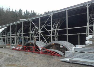Sportovní hala, montáž ocelových konstrukcí a tribun – Karlovy vary – 11/2017